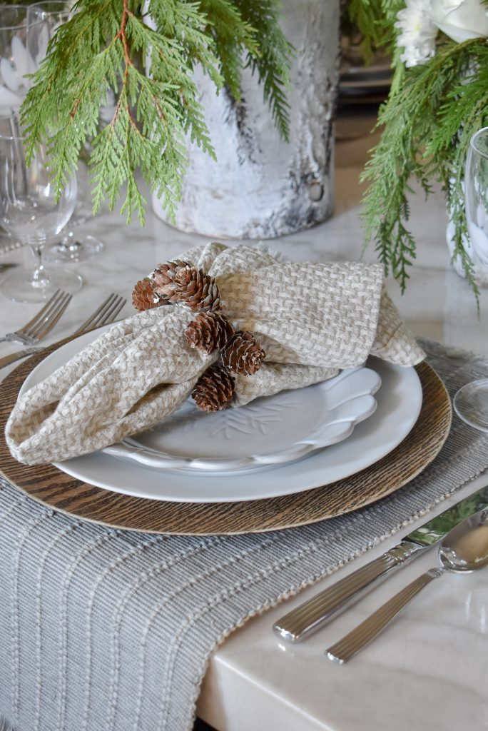 White Woodsy Christmas Table Setting