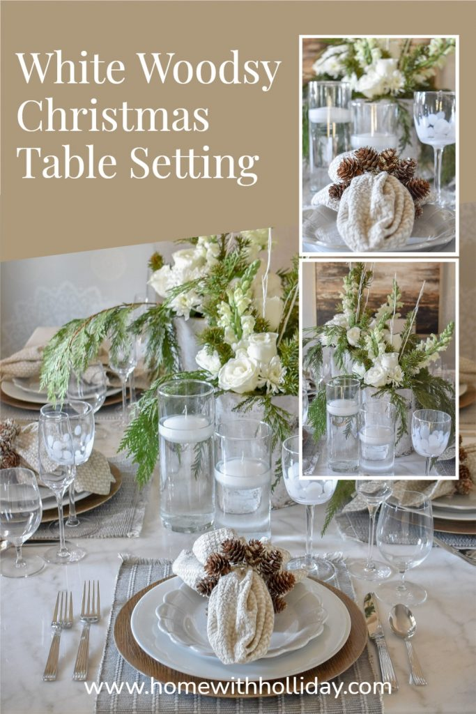 A collage of a White Woodsy Christmas Table Setting