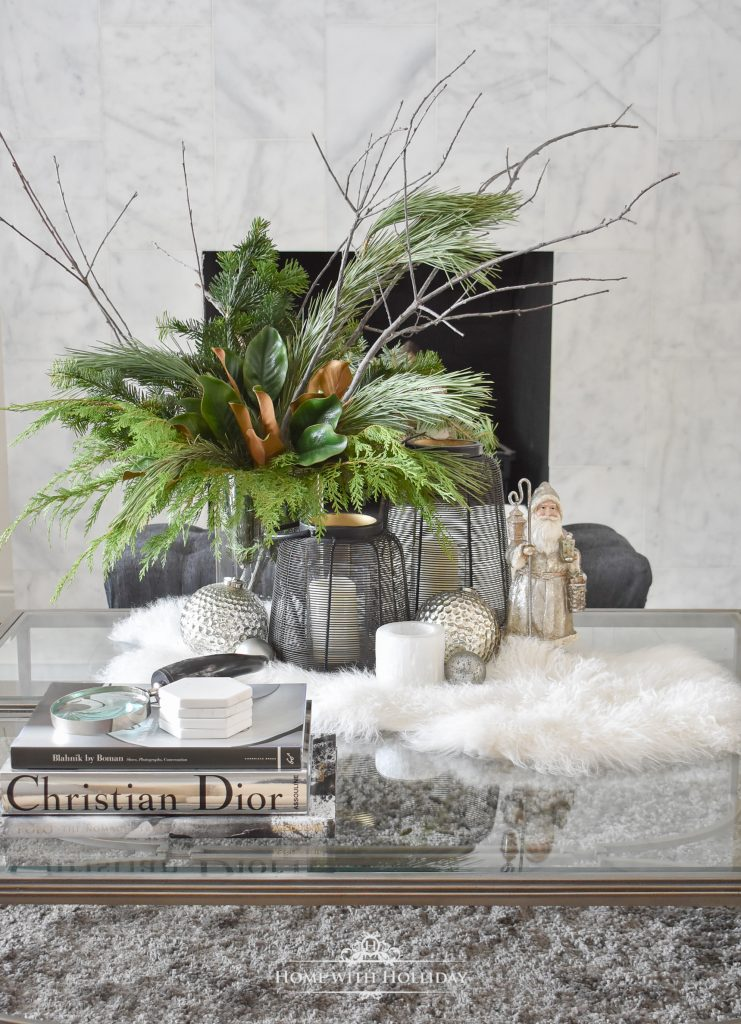 A coffee table decorated to Tips to Transition your Decor from Christmas to Winter Christmas to Winter
