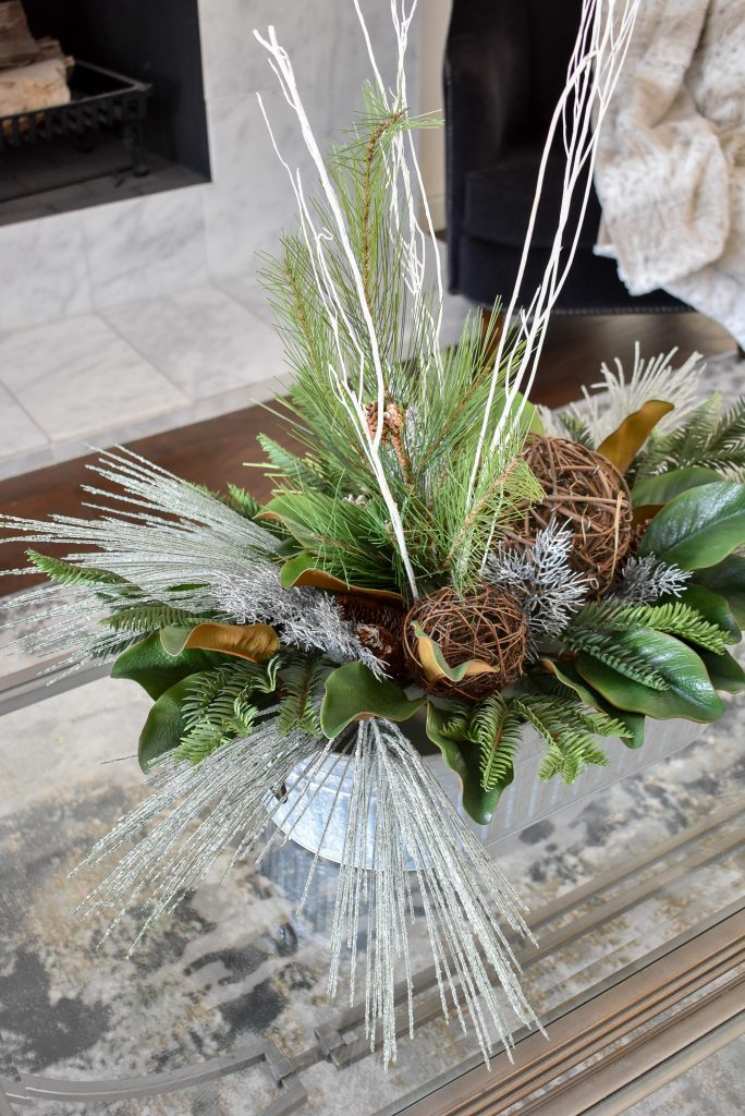 A winter centerpiece to help transition your Decor from Christmas to Winter