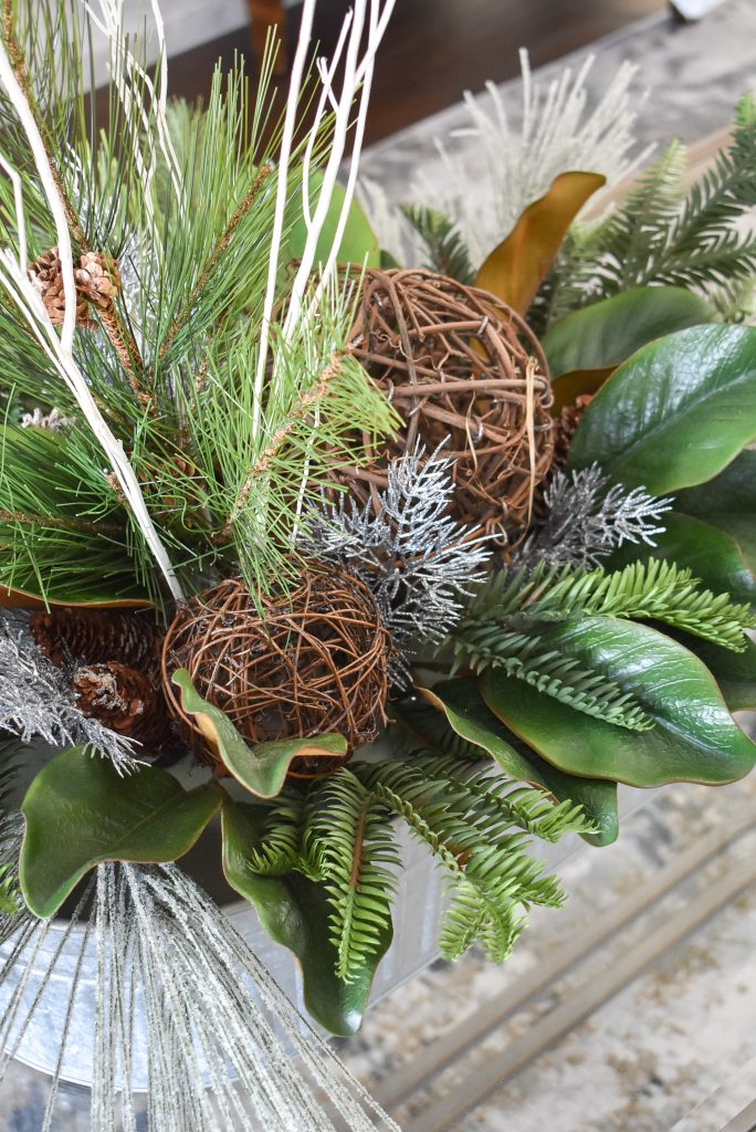 A woodsy winter centerpiece to help transition your Decor from Christmas to Winter