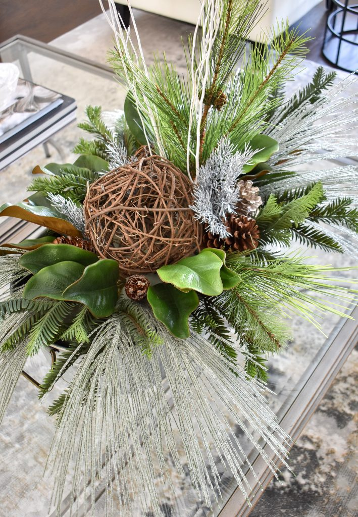 A winter centerpiece to Transition your Decor from Christmas to Winter