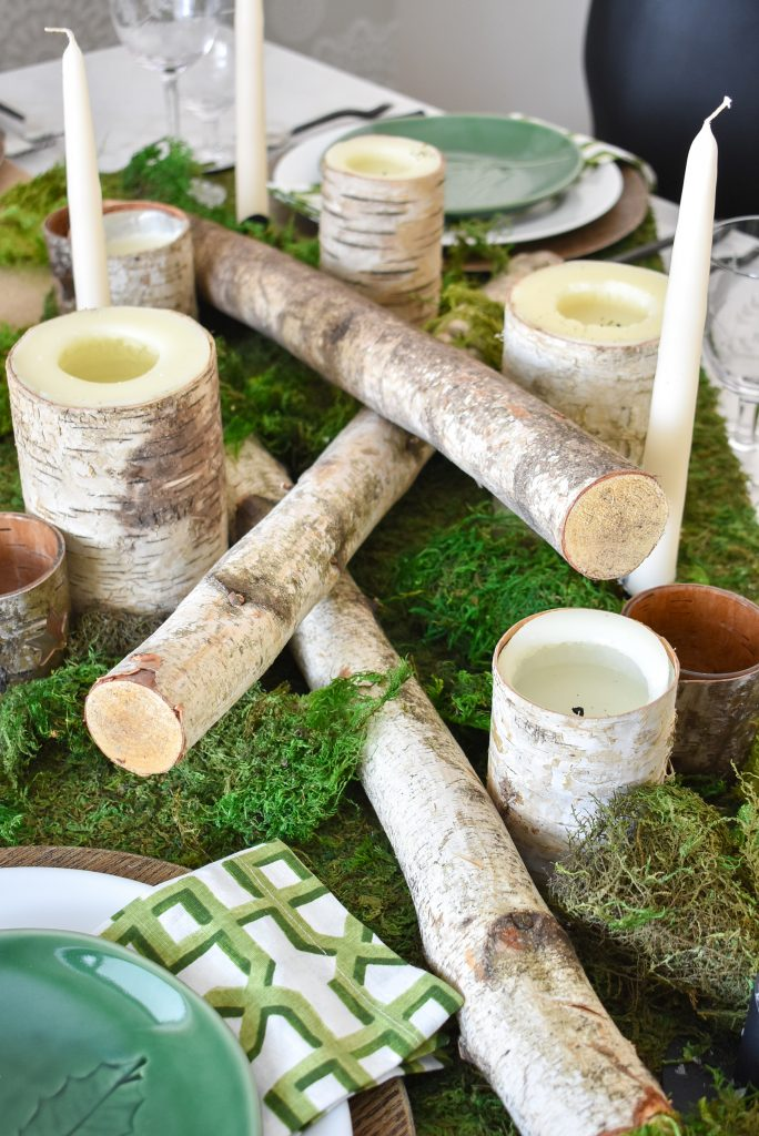 Birch logs on a Green and White Woodsy Table Setting for Spring or St. Patrick's Day