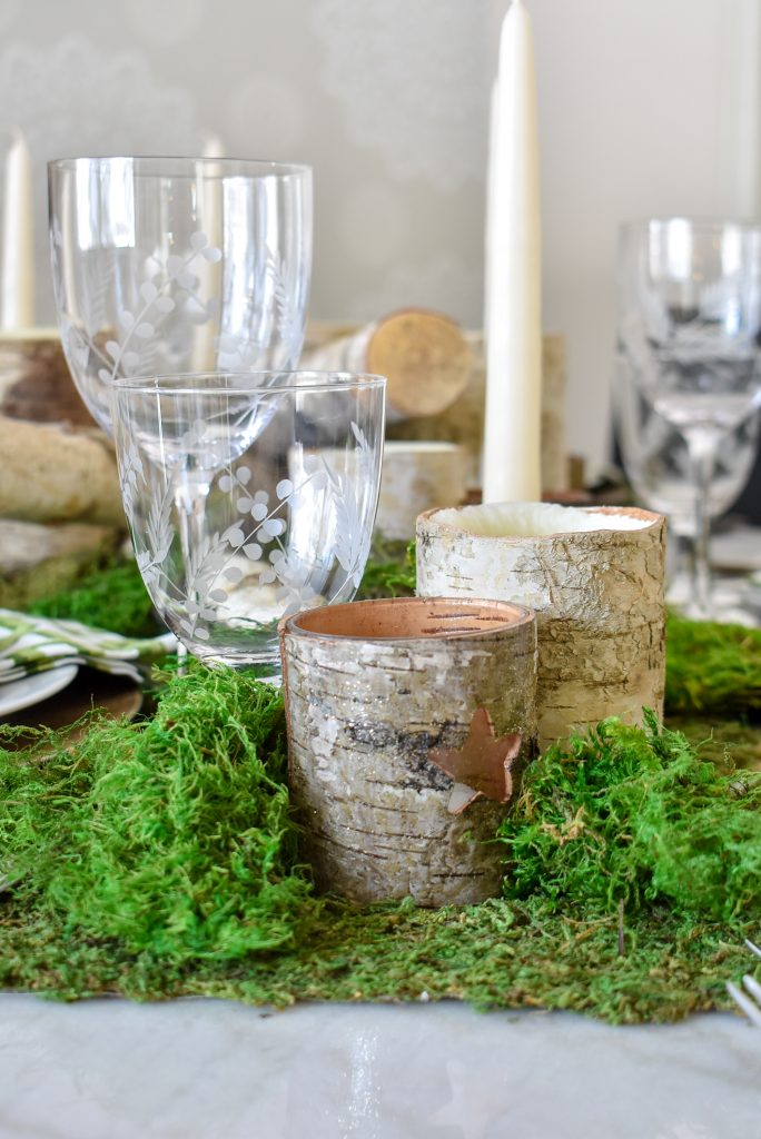 Glassware on a Green and White Woodsy Table Setting for Spring or St. Patrick's Day