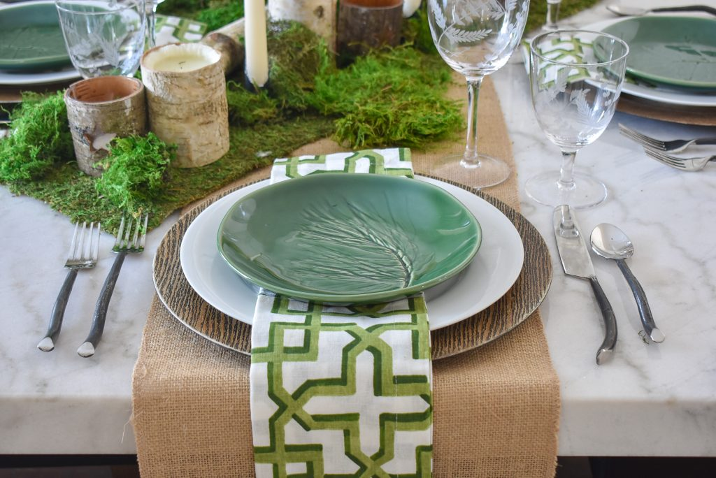 Place Setting on a Green and White Woodsy Table Setting for Spring or St. Patrick's Day