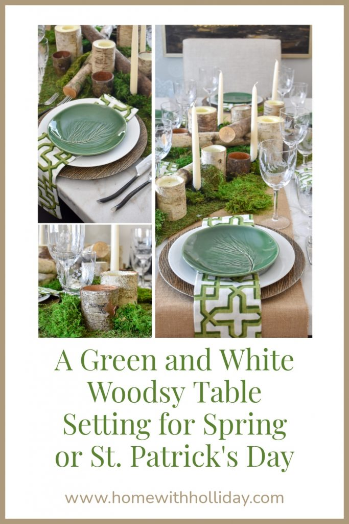 A Green and White Woodsy Table Setting for Spring or St. Patrick's Day