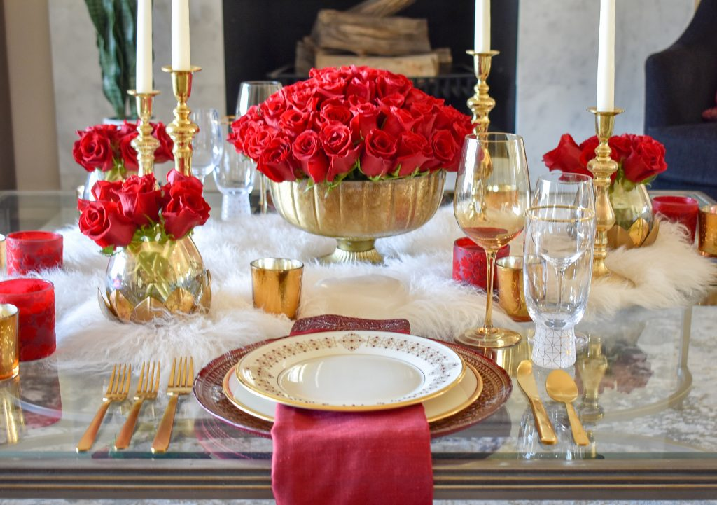 A Romantic Red and Gold Valentine's Day Table for Two with Red Roses