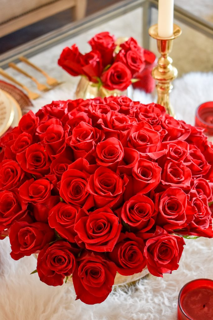 Gorgeous Red Roses on a Romantic Red and Gold Valentine's Day Table for Two