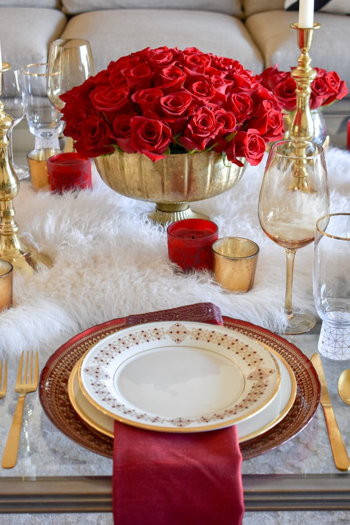 A Romantic Red and Gold Valentine's Day Table for Two