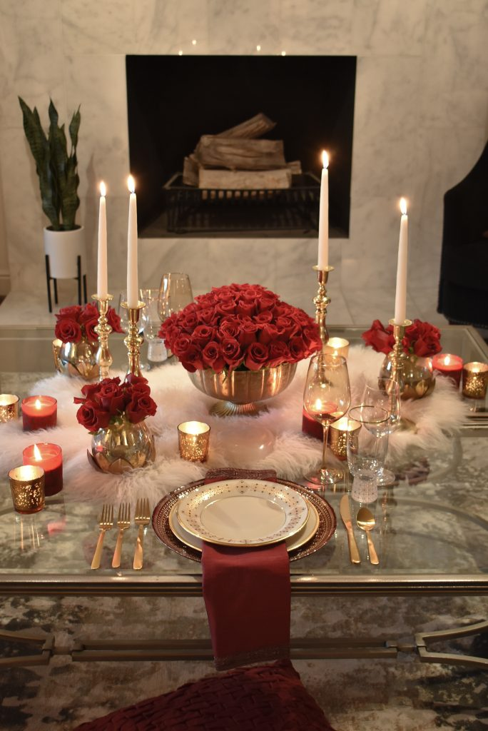 A Romantic Red and Gold Valentine's Day Table for Two by Candlelight