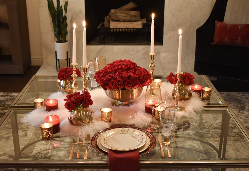 A Romantic Red and Gold Valentine's Day Table for Two with Candlelight