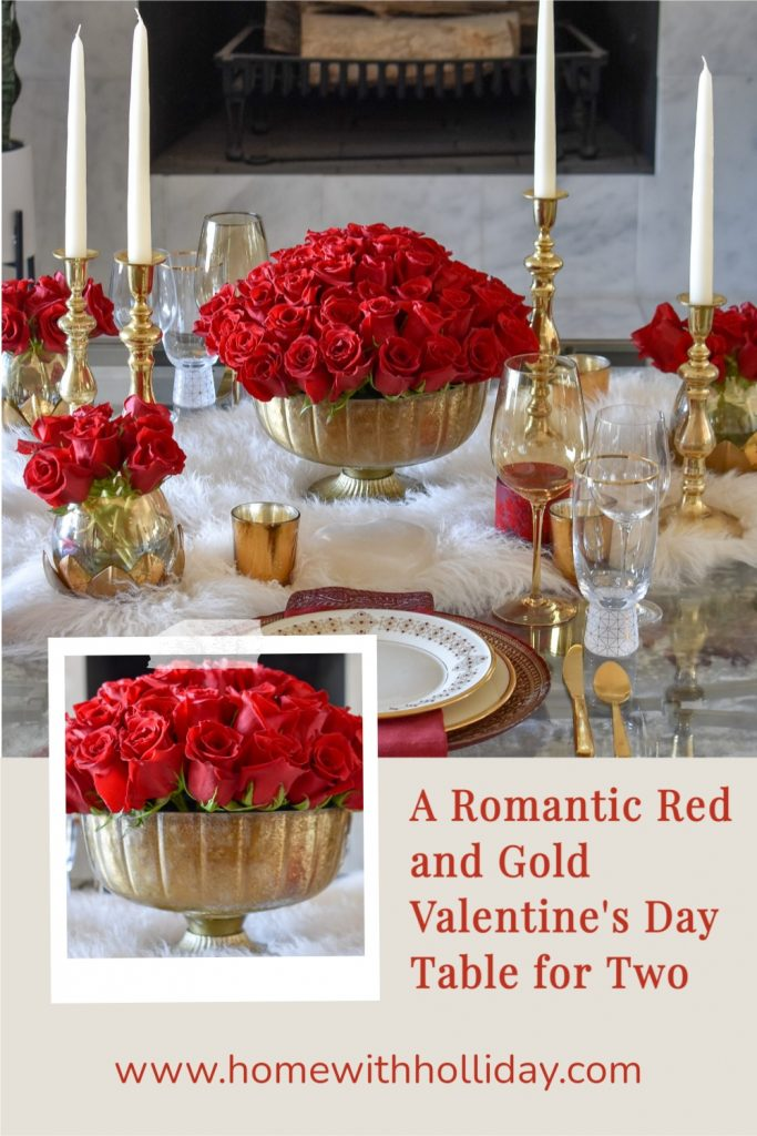 A Collage of a Romantic Red and Gold Valentine's Day Table for Two