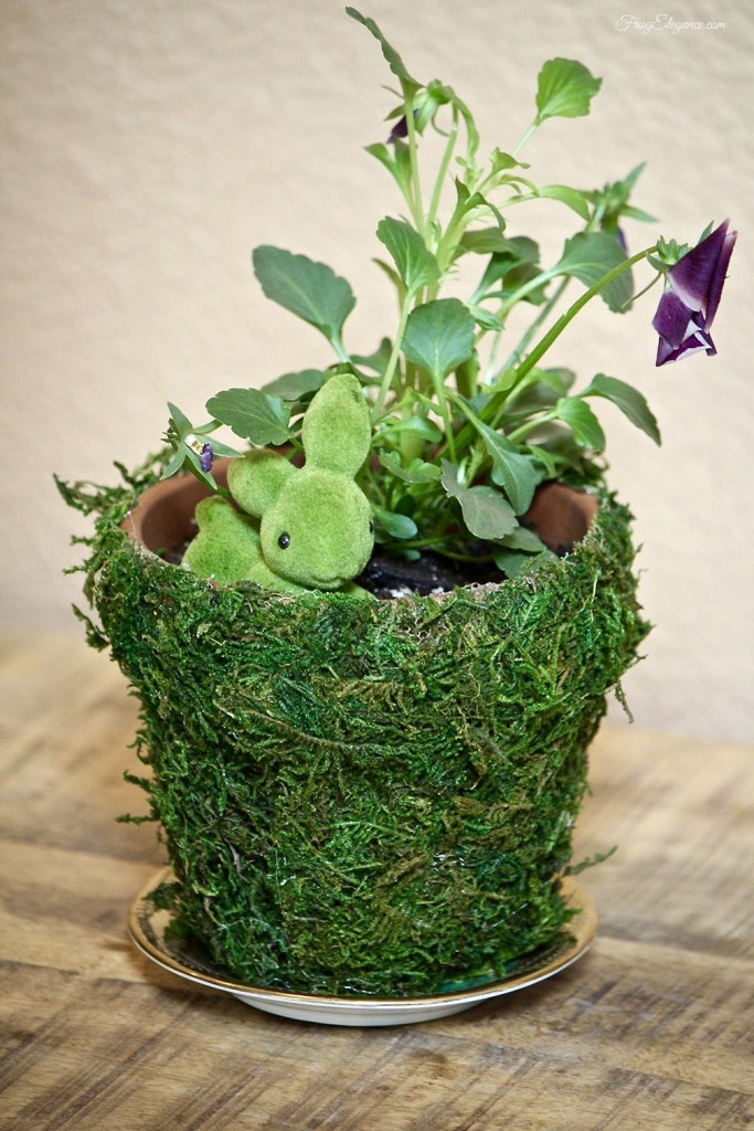 A moss covered pot for Spring or Easter Decor