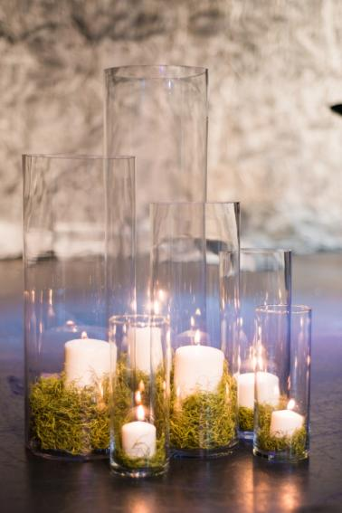 Hurricane Vases with Moss and Candles