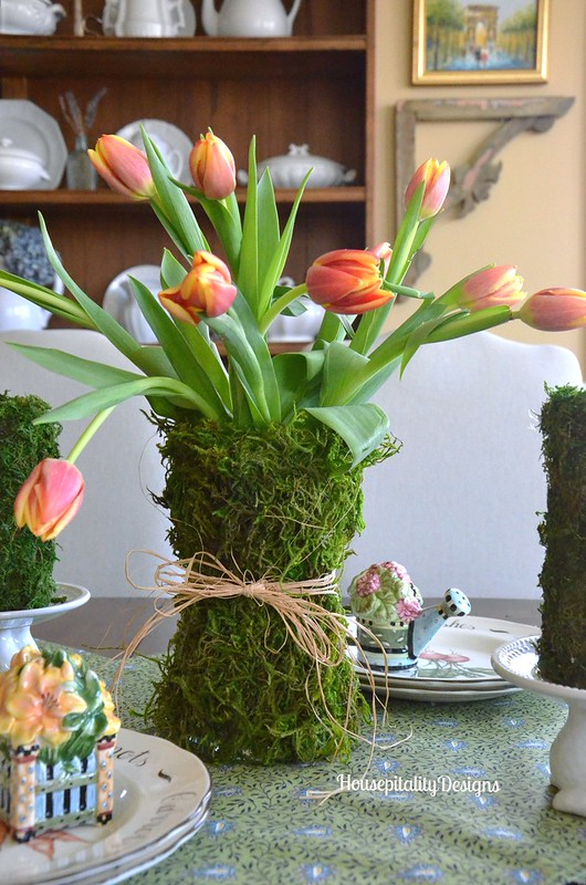 A moss covered vase with Tulips for Spring
