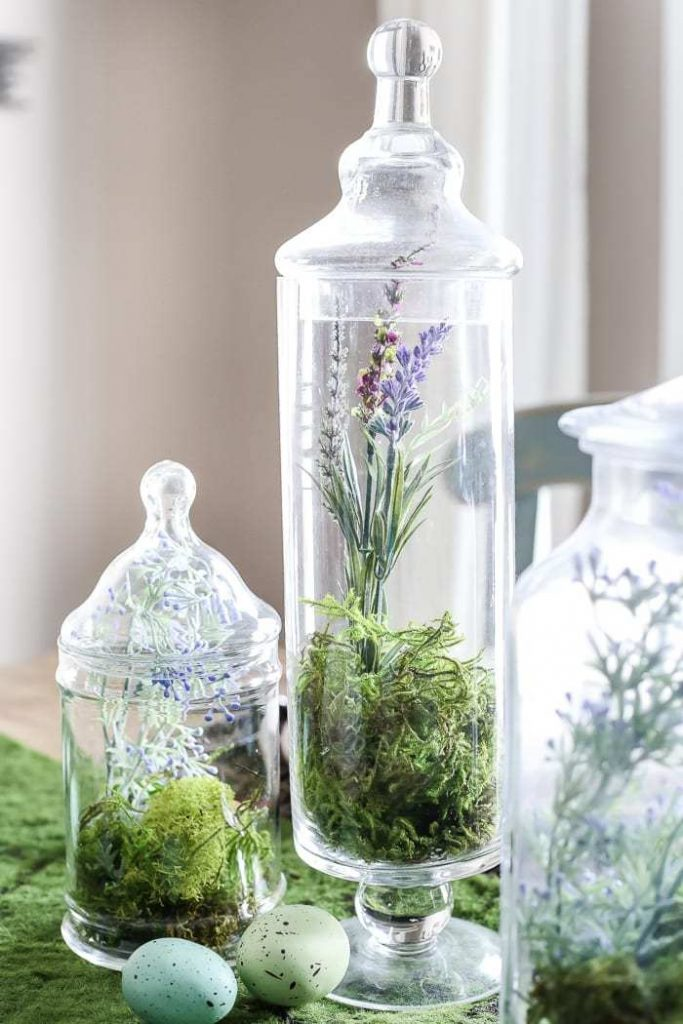 Apothecary Jars filled with Moss for Easter