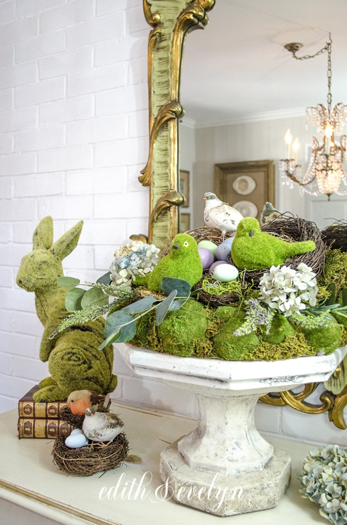 An Easter vignette with moss and bunnies