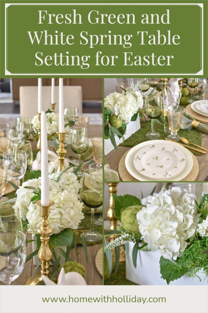 A collage of a Fresh Green and White Spring Table Setting for Easter