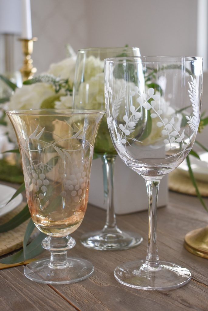Stemware on a Fresh Green and White Spring Table Setting for Easter