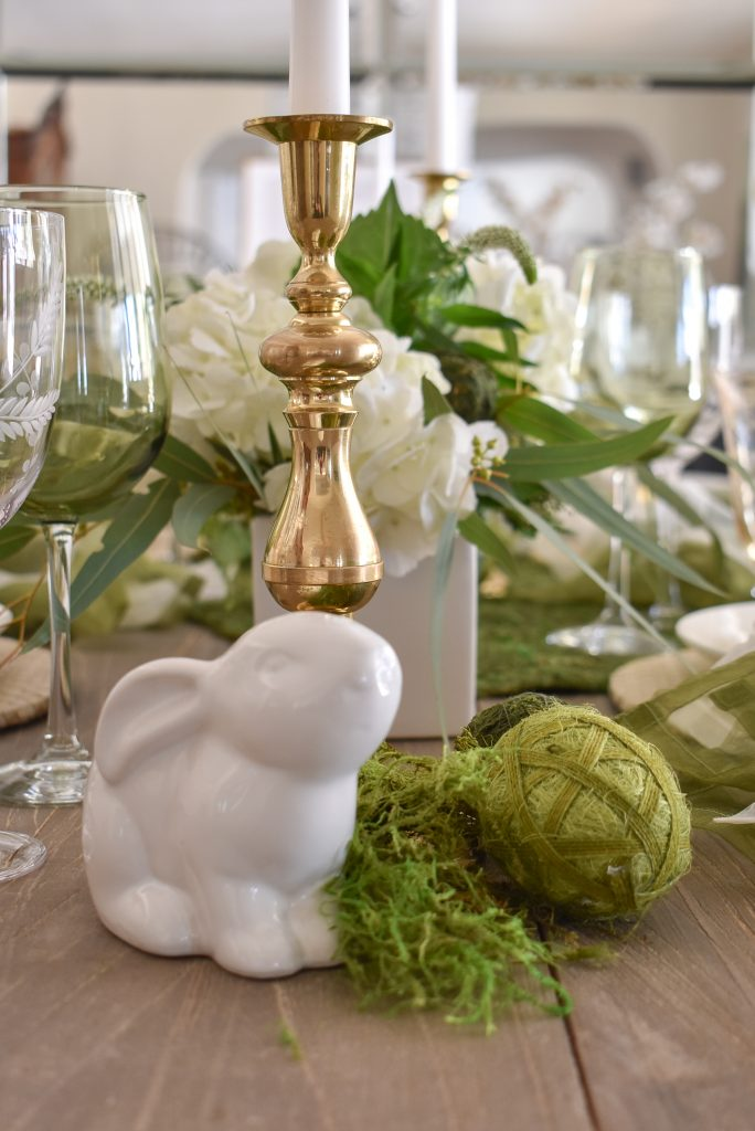 Easter Decor on a Fresh Green and White Spring Table Setting for Easter