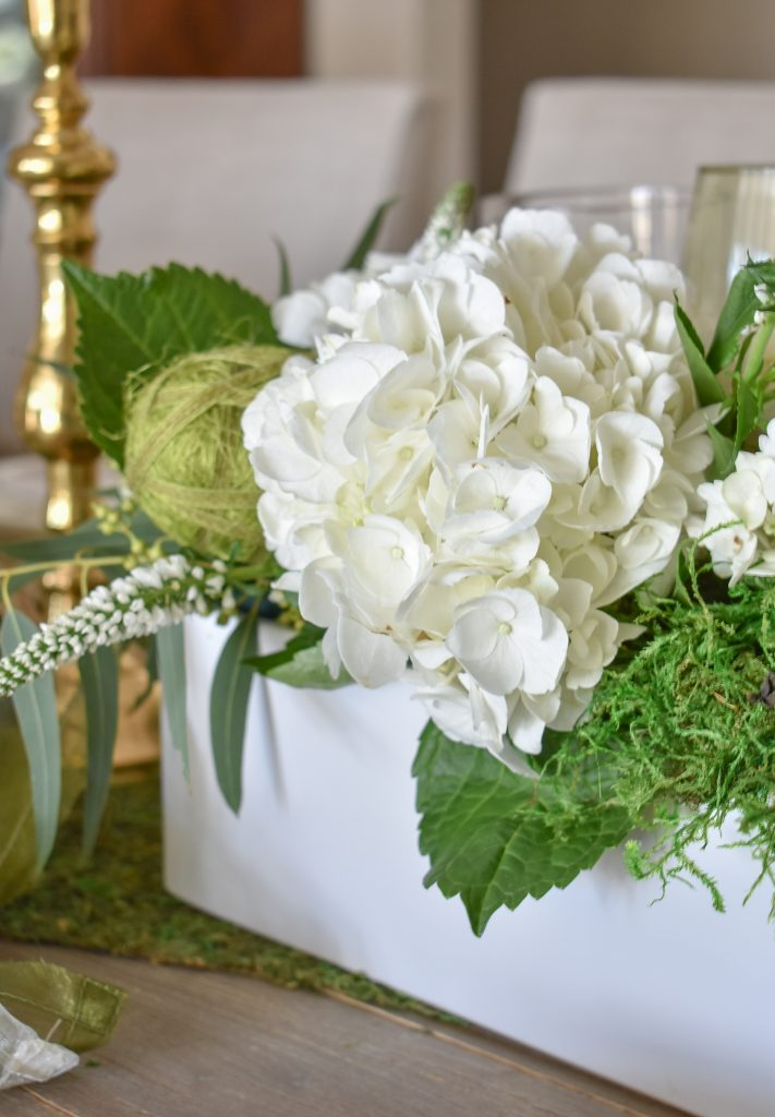Hydrangeas on a Fresh Green and White Spring Table Setting for Easter