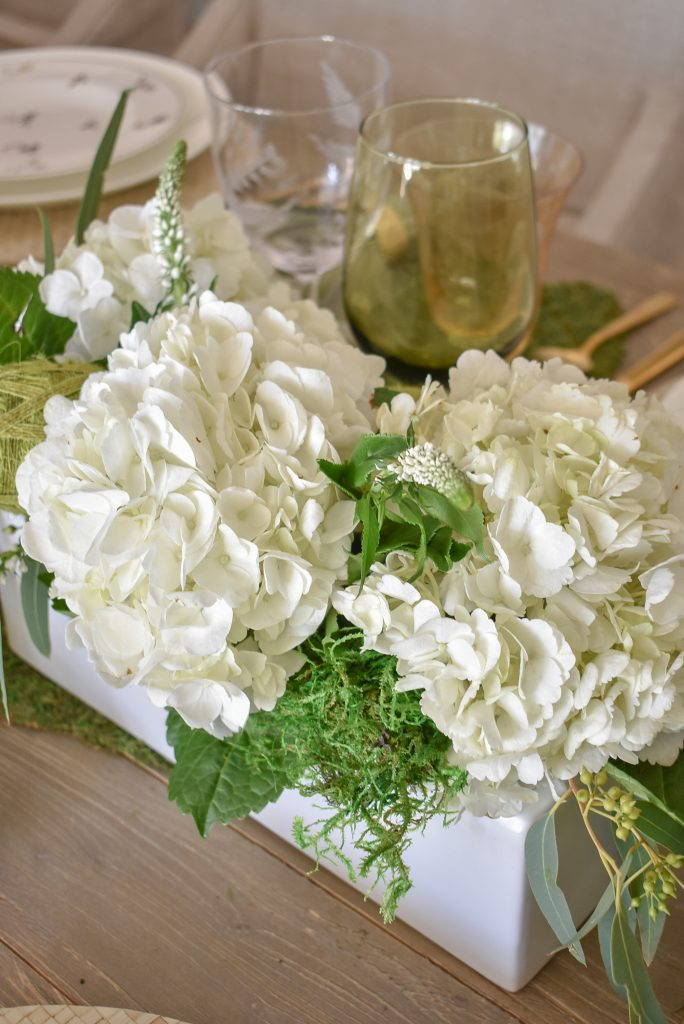Hydrangea Arrangements on a Fresh Green and White Spring Table Setting for Easter