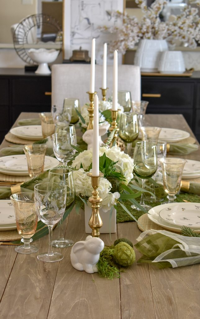 Fresh Green and White Spring Table Setting for Easter with candles
