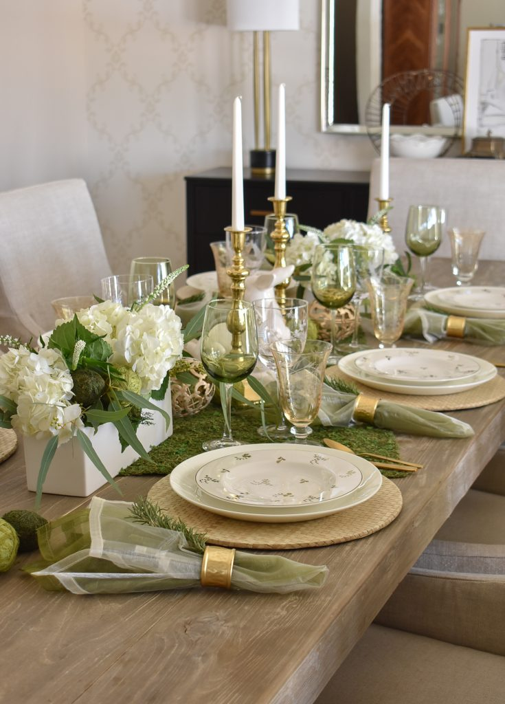 A Fresh Green and White Spring Table Setting for Easter