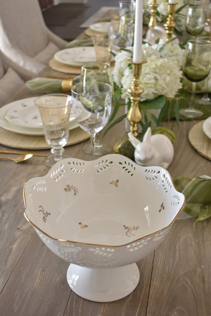 A footed Lenox Bowl on a Fresh Green and White Spring Table Setting for Easter