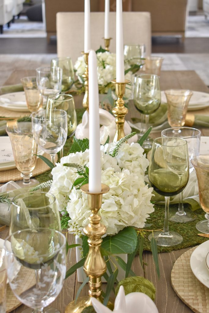 A Fresh Green and White Spring Table Setting for Easter with Hydrangeas