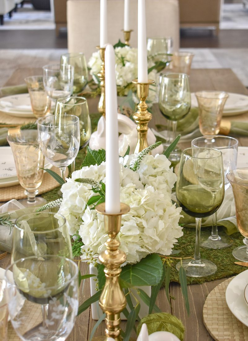 Fresh Green and White Spring Table Setting for Easter