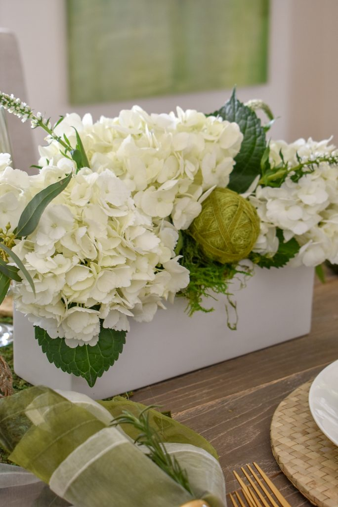 Hydrangea Arrangement for a Fresh Green and White Spring Table Setting for Easter