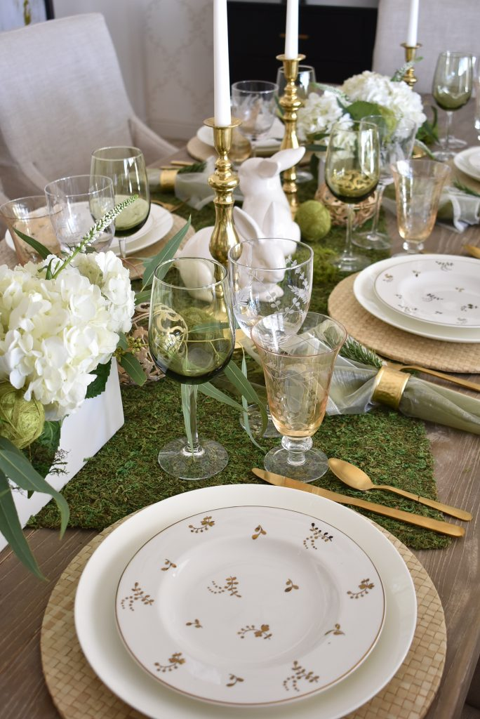 Plates on a Fresh Green and White Spring Table Setting for Easter