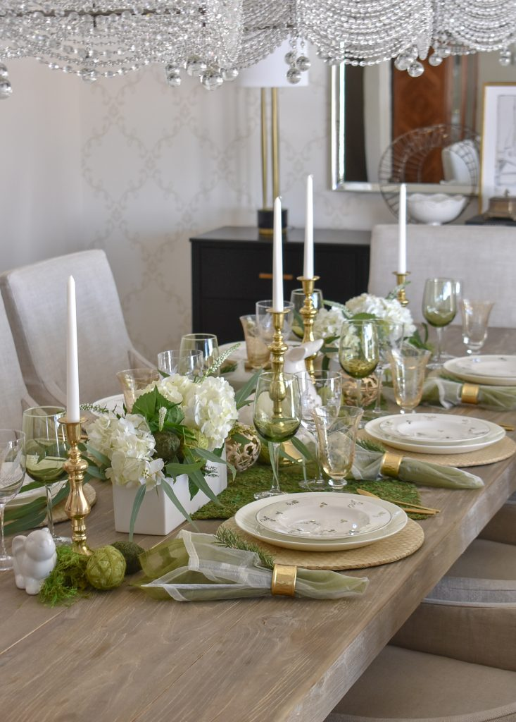 Fresh Green and White Spring Table Setting for Easter in a dining room