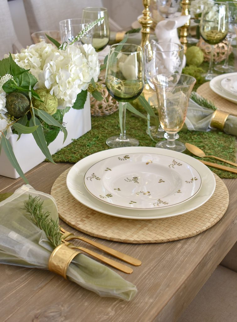 Plate and Chargers on a Fresh Green and White Spring Table Setting for Easter