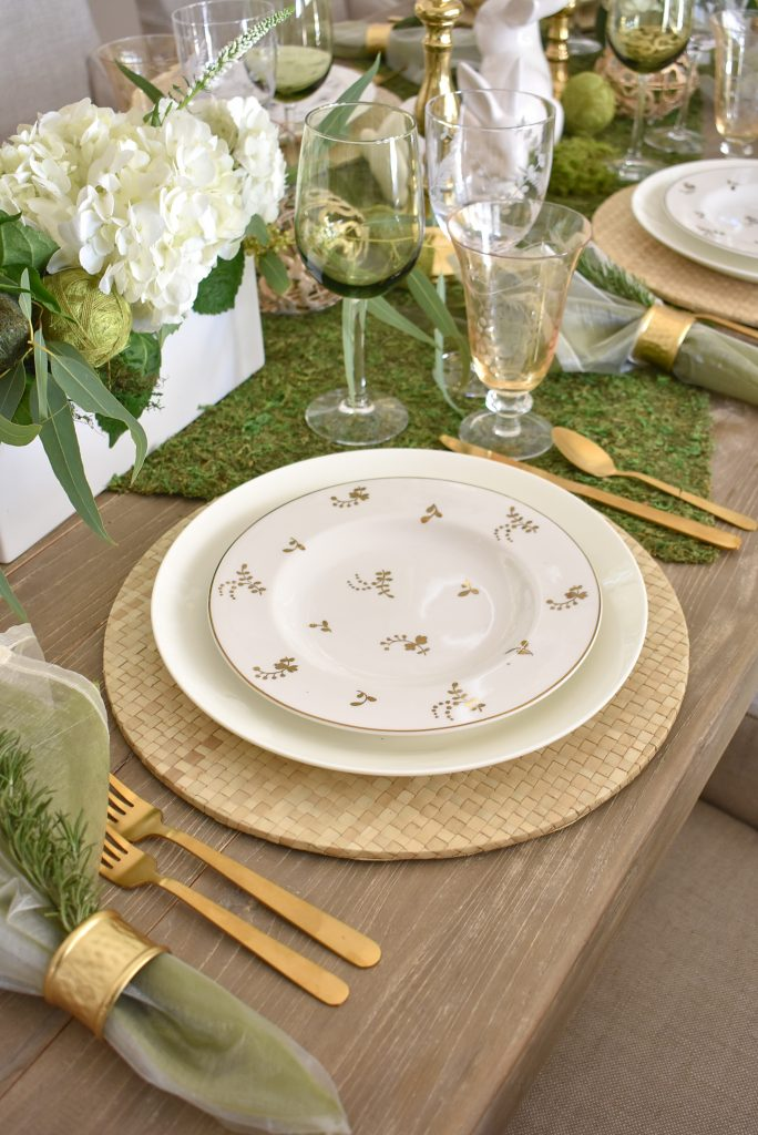 Place Setting on Fresh Green and White Spring Table Setting for Easter