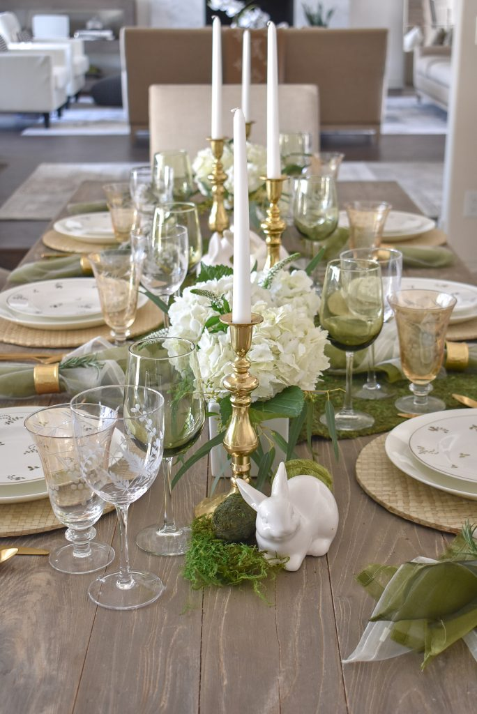 Fresh Green and White Spring Table Setting for Easter with Hydrangeas