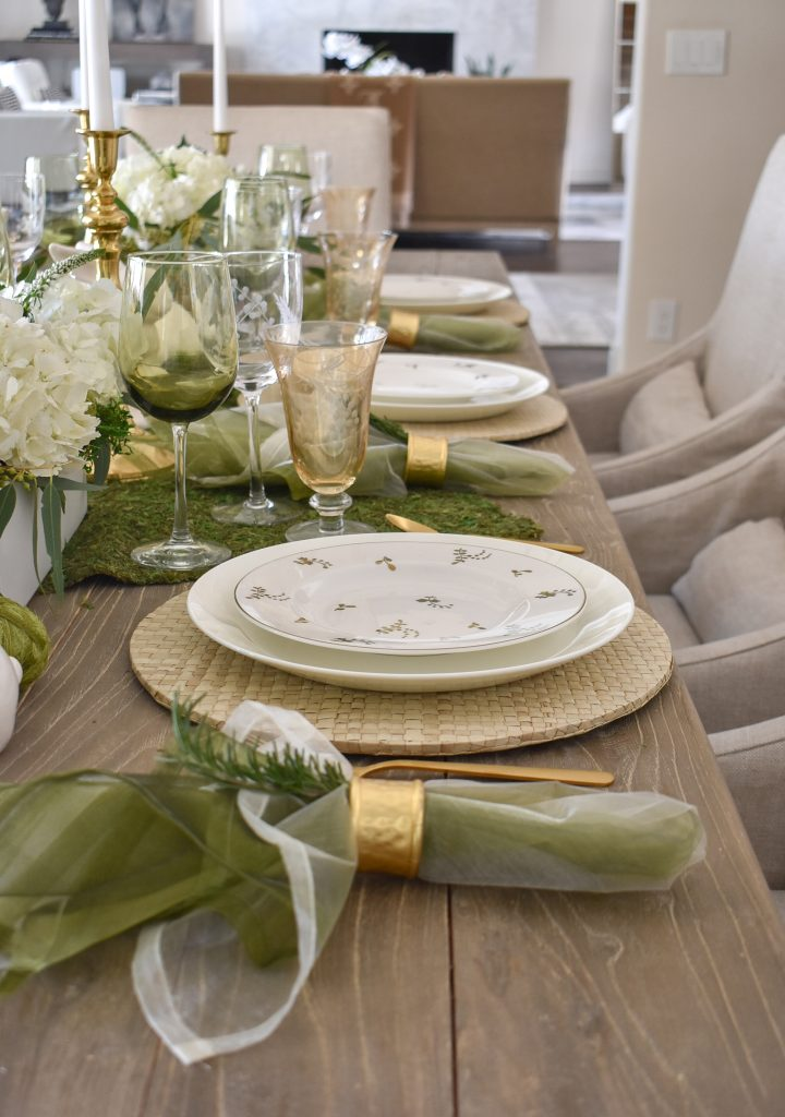 Napkins on a Fresh Green and White Spring Table Setting for Easter