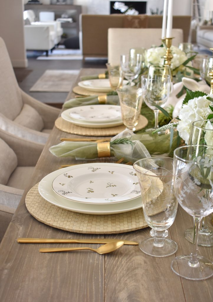Place Settings on a Fresh Green and White Spring Table Setting for Easter