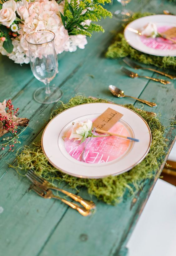 Moss used as a placemat on a Spring Table Setting