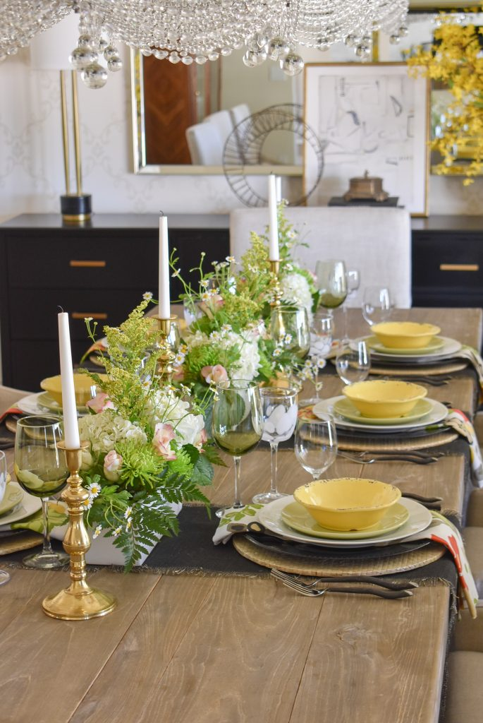A Spring Tablescape with Bold Colors of yellows and greens
