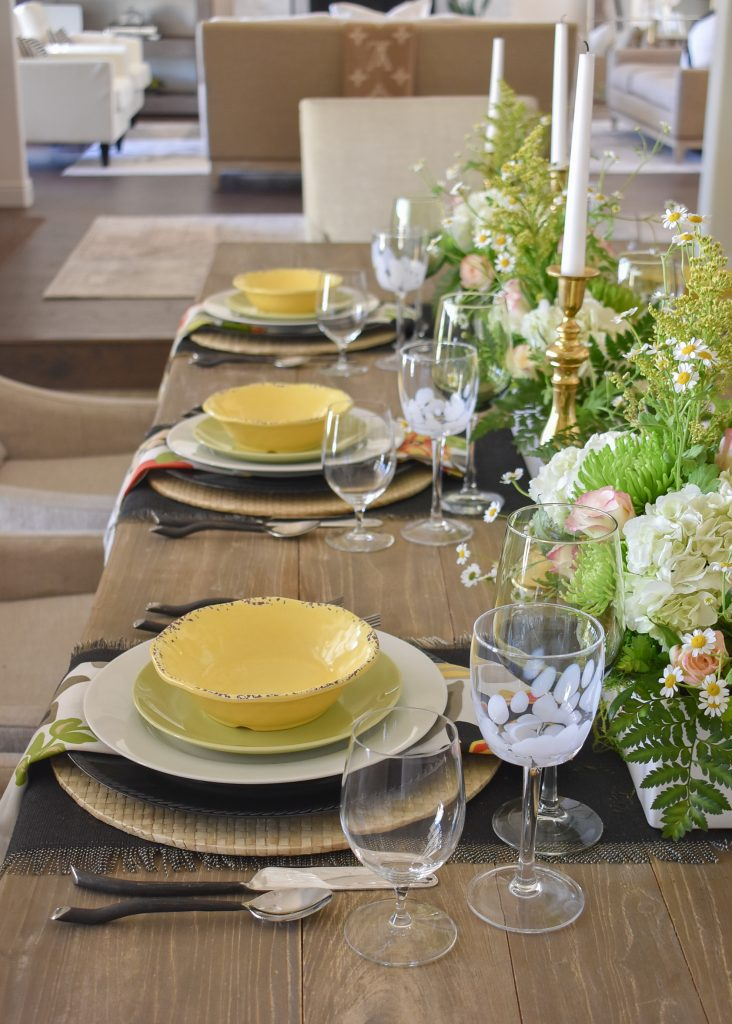Place Settings on Spring Tablescape with Bold Colors