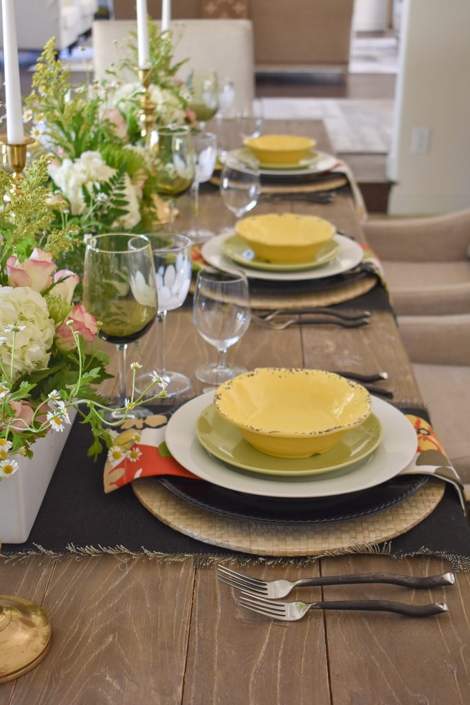Place Settings on a Spring Tablescape with Bold Colors