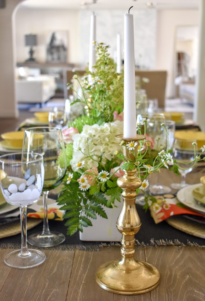 Flowers on a Spring Tablescape with Bold Colors