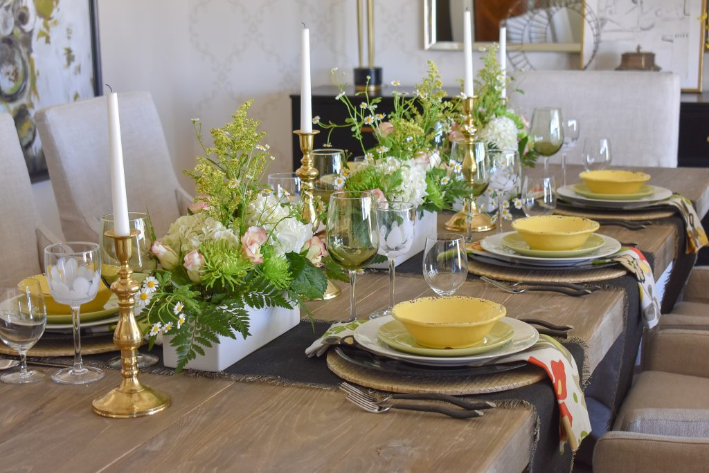 A Spring Tablescape with Bold Colors with Black