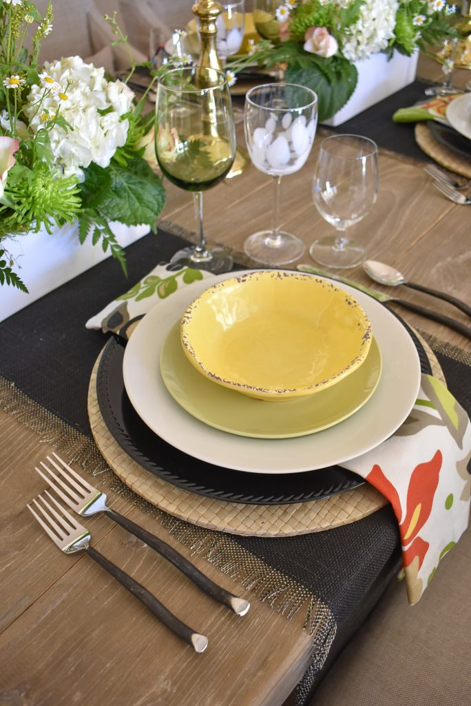 Place Setting on a Spring Tablescape with Bold Colors