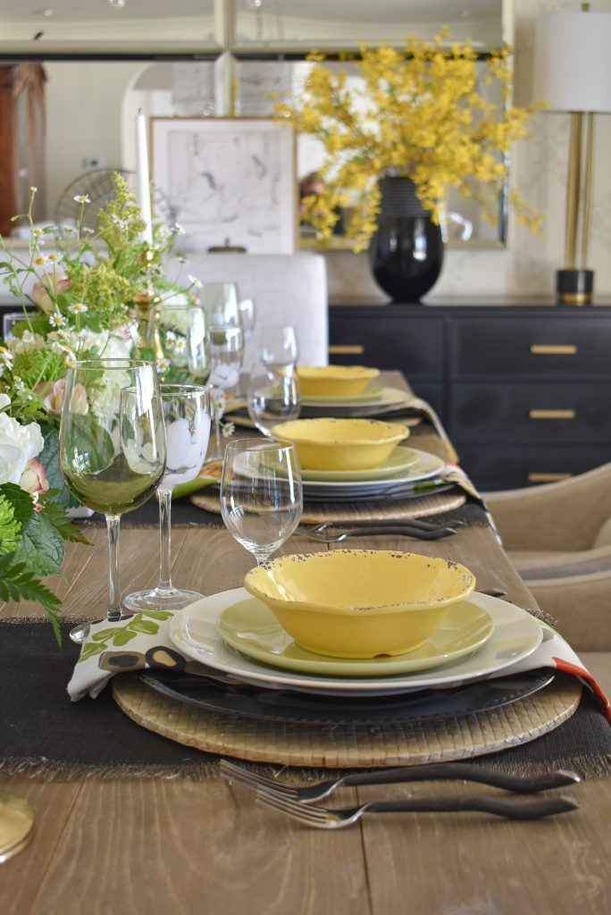 A Spring Tablescape with Bold Colors and Black