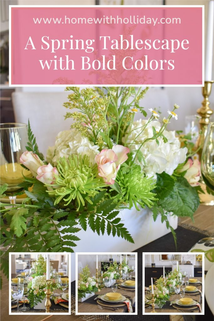 A collage of a Spring Tablescape with Bold Colors