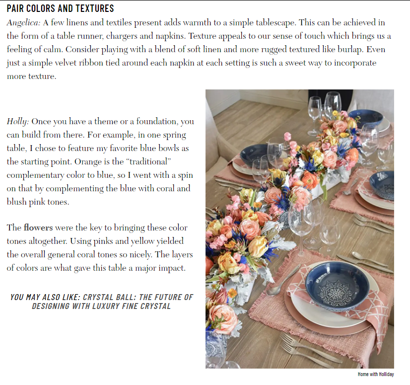 Iconic Life Magazine Feature on Modern Tablescapes - A bright spring table!