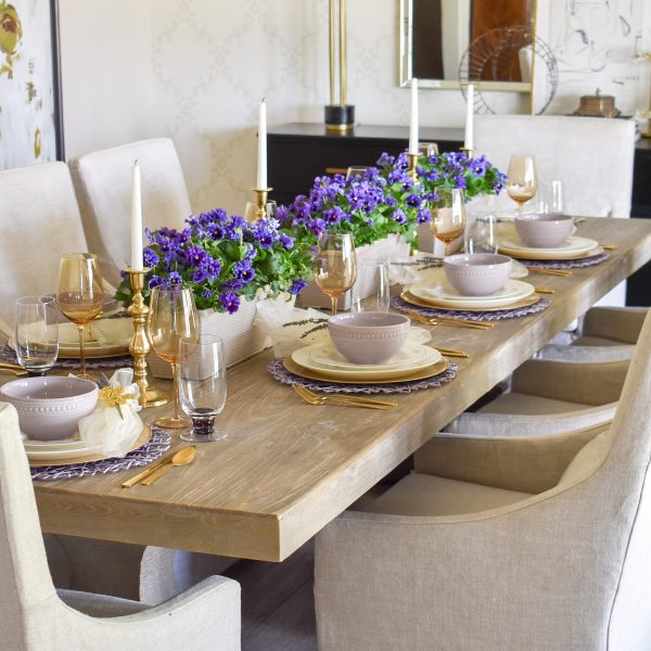 Lavender and Gold Spring Tablescape